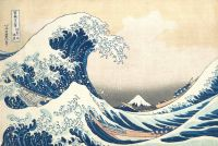 Woodcut print of a giant wave above several small ships, by Japanese artist Hokusai