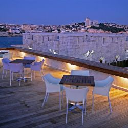 C2 hotel Marseille, terrace, From the Poolside blog on boutique hotels and stylish hotel rentals
