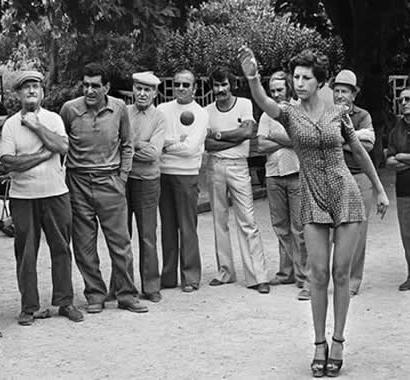 Petanque in Paris. Black and white image from the 70's