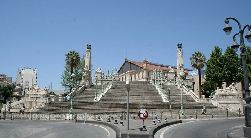 Stairs of the St Charles station in Marseille, France