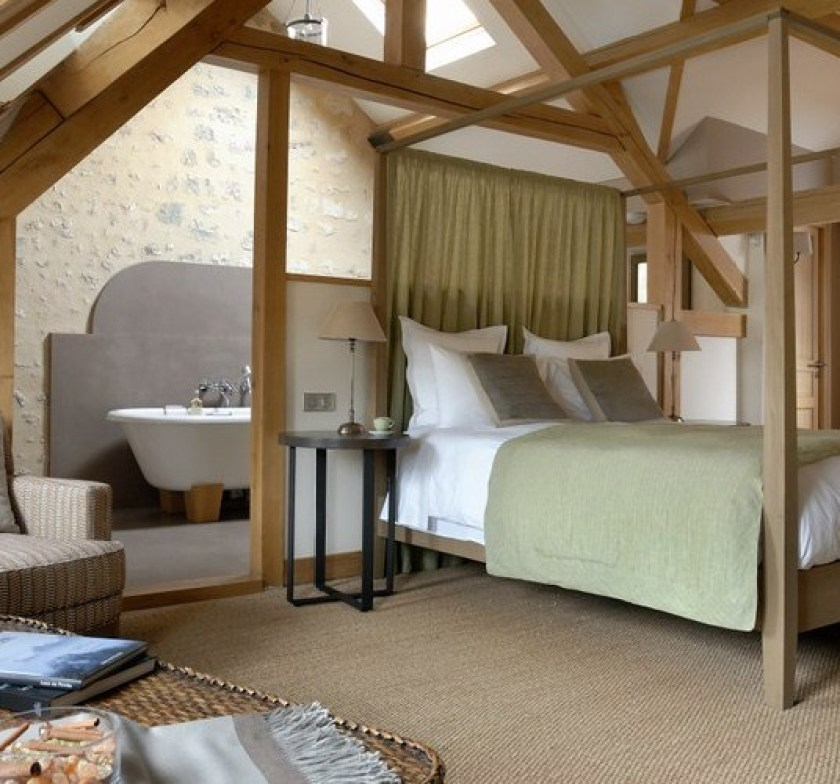 Cote Parc, b&b in Le Perche, Normandy. Bedrooms with a 4 pster bed and green duvet.  One of the 6 B&Bs in Perche, France in this post.