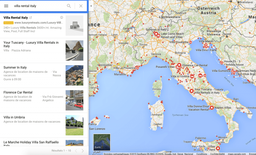 "Google maps search results for ""villa rentals Italy"""