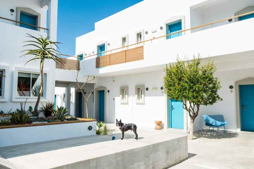 Ammos hotel is a fabulous boutique hotel with heated pool bordering a shallow beach in Crete, perfect for families who want their kids to play safely.  Bedrooms have a great interior design and the welcome is friendly.