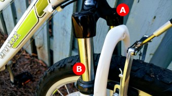 A) Fork: This holds your wheel and along with the headset and handlebars allow you to steer your bike. They, like the frame, can be made of various materials. B) Suspension: There are various forms but two basic kinds - hardtail (like what's shown here) and full. Full suspension means there's suspension in the front (like shown) and in the rear. Suspension is a means to absorb shock.