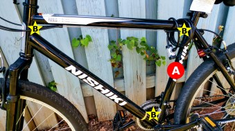 A) Seat tube: This is an easy one – it holds the seat post. B) Front triangle: the space formed by the top tube, down tube, and seat tube. Many accessories can be attached in this space.