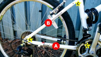 A) Chainstay: runs in line with the chain to connect the bottom bracket to the rear dropout B) Seatstay: runs from the top of the seat tube to the rear dropout. C) Rear triangle: formed by the seat tube, chainstays and seatstays, providing structural support to the rear frame as well as a means to carry cabling .
