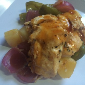 chicken peppers onions bbq easy no-mess pineapple foilpack
