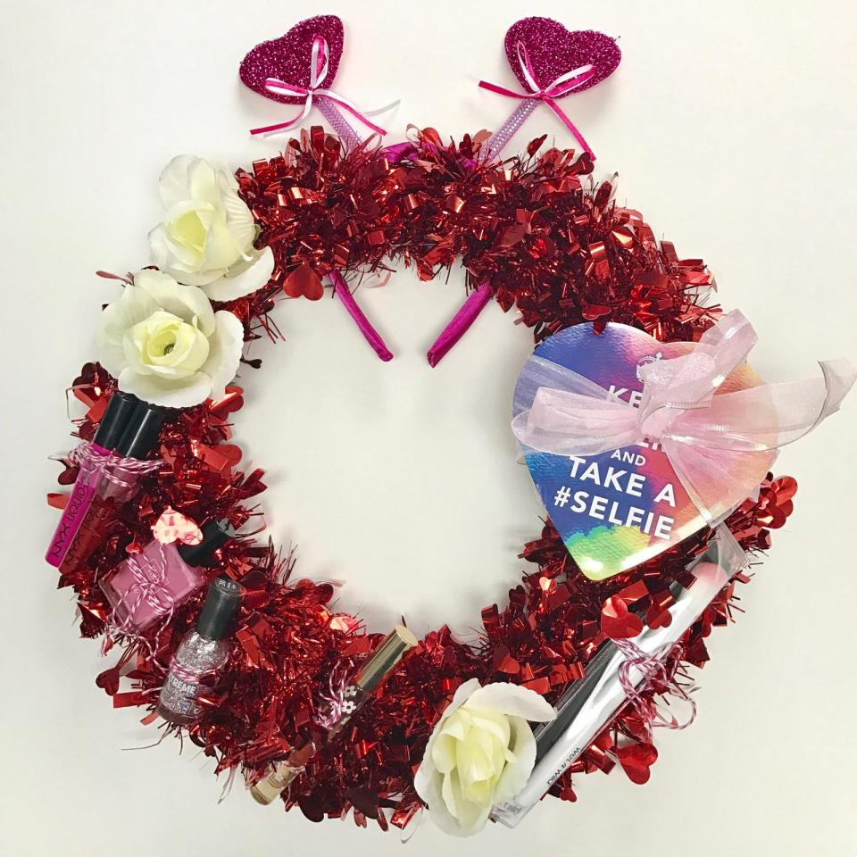 DIY Valentine's Day Gift Wreath by From Under a Palm Tree