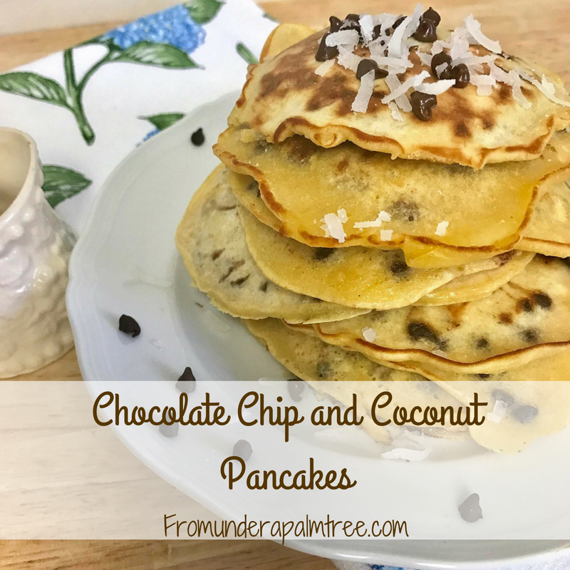 Chocolate Chip and Coconut Pancakes by From Under a Palm Tree
