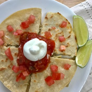 Low Fat Vegetarian Artichoke Chickpea Quesadilla by From Under a Palm Tree