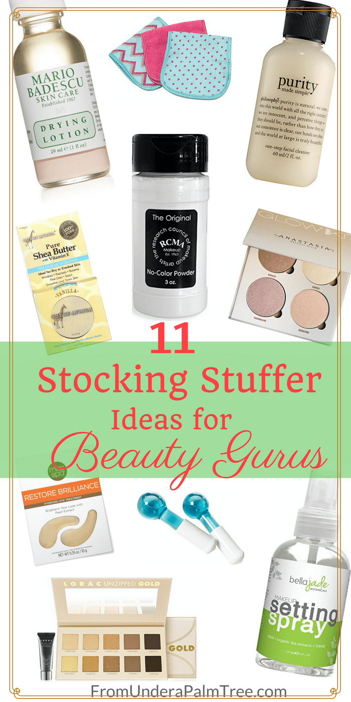 stocking stuffer ideas for beauty gurus from under a palm tree