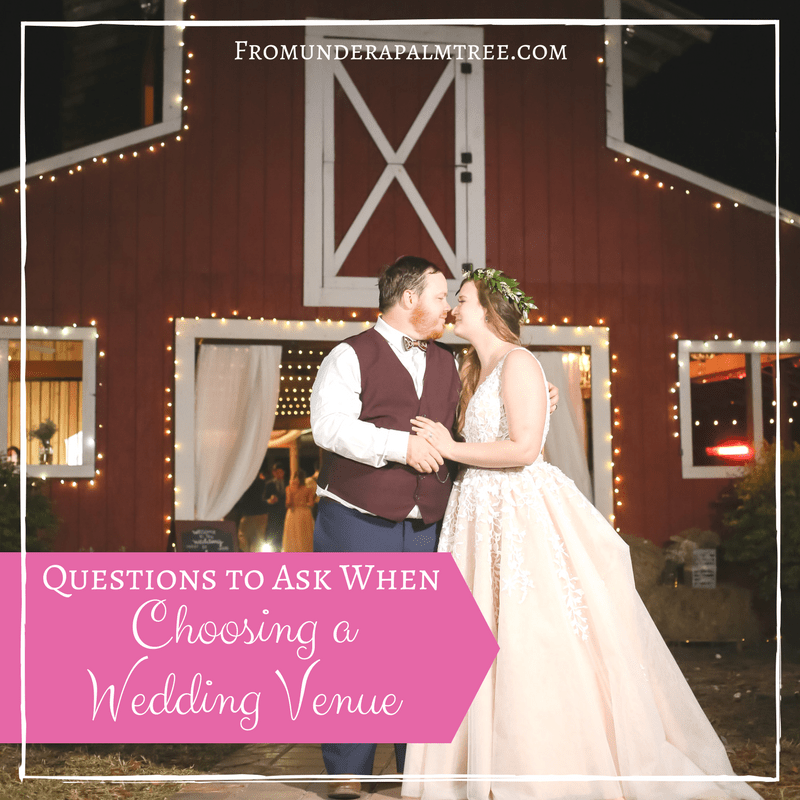 How to choose a wedding venue | Choosing a wedding venue | Questions to ask when choosing a wedding venue | Wedding Venue | Wedding | Wedding Reception | Wedding Ceremony | Bride | Groom | barn wedding | rustic wedding | elegant wedding | church wedding | beach wedding | Wedding location | indoor | outdoor | budget | wedding budget | winter wedding | summer wedding | fall wedding | Spring Wedding | wedding decorations | small wedding | simple wedding | forest wedding |