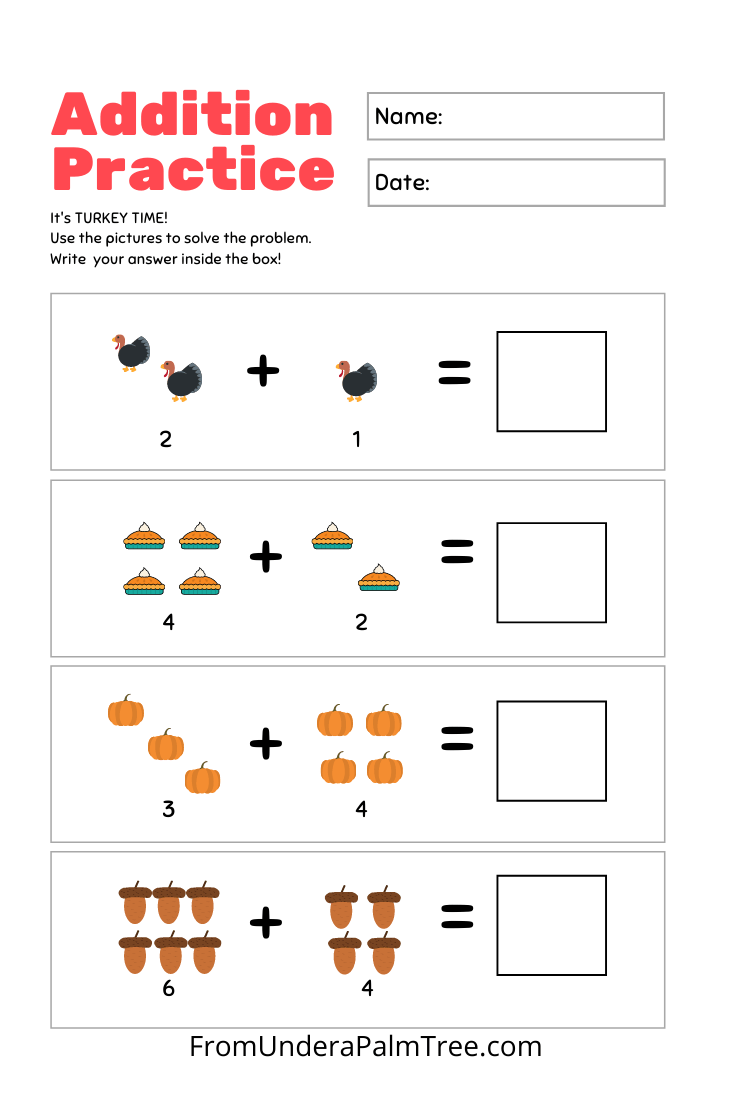 medium resolution of Thanksgiving Kindergarten Worksheet Pack \u003c From Under a Palm Tree