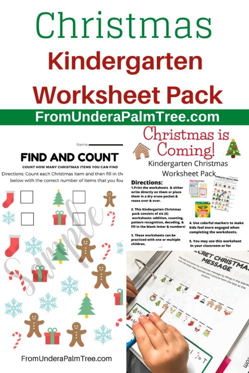 small resolution of Christmas Kindergarten Worksheet Pack \u003c From Under a Palm Tree