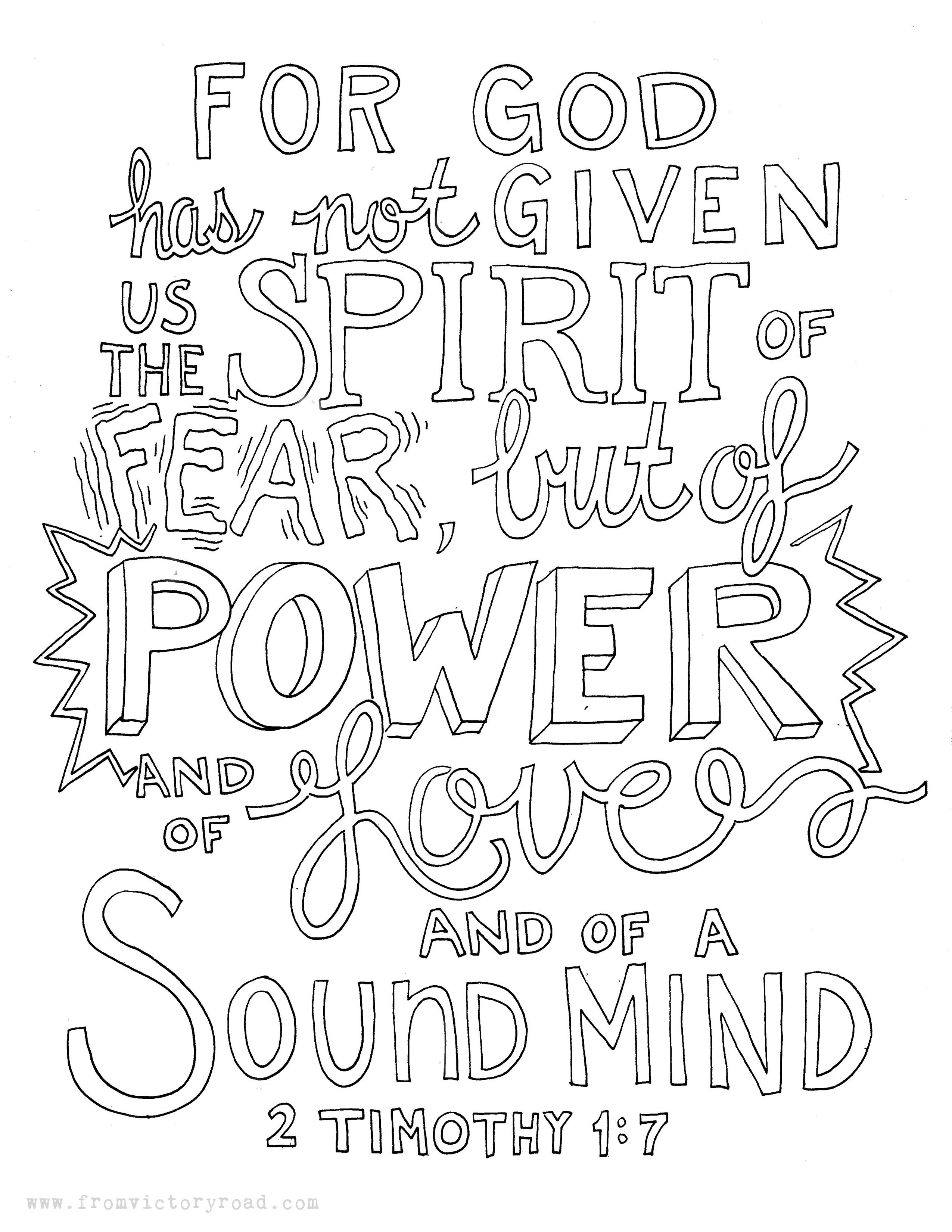 2 Timothy 1:7 coloring page