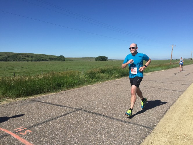 Jesse finishing Sandhills 1:2 Marathon 2015