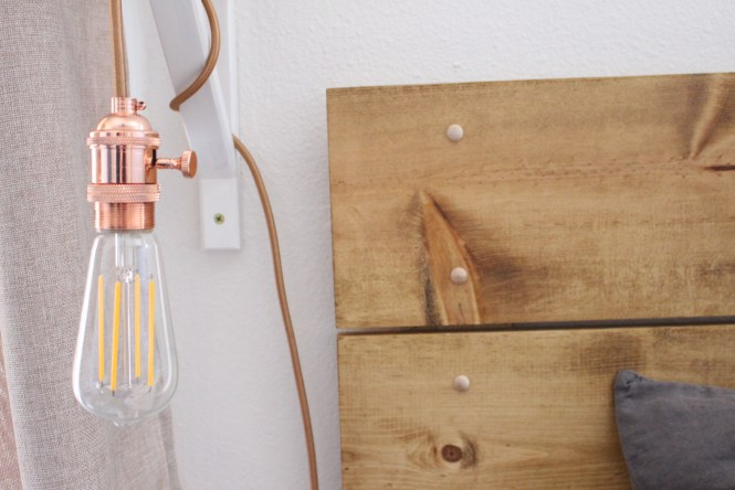 Rose gold pendant light, LED edison bulb DIY