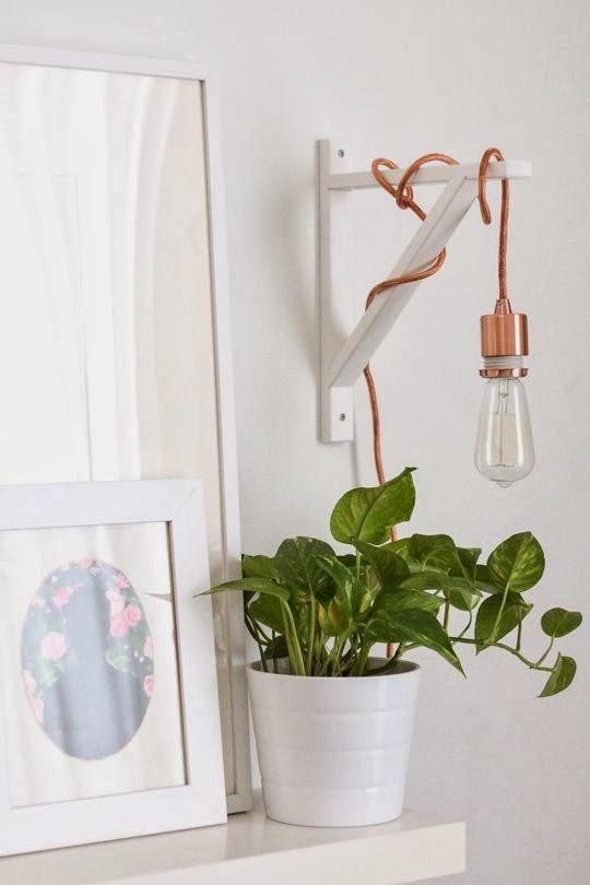 rose gold hanging pendant on ikea shelf bracket