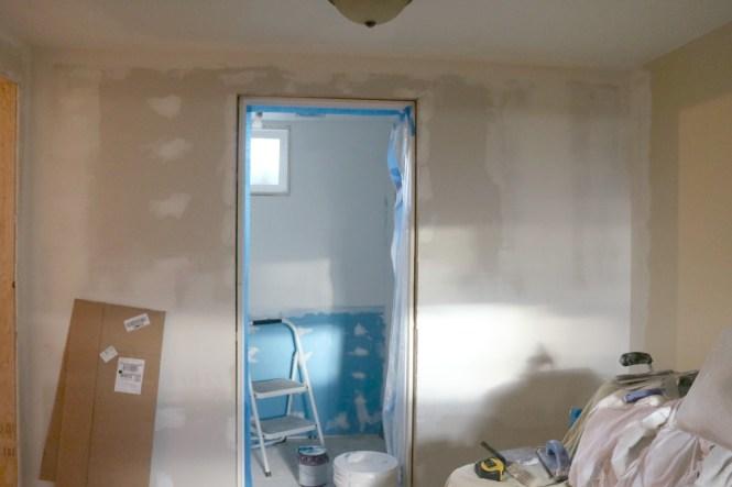 Basement bathroom finished drywall