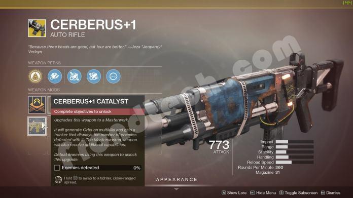 Destiny 2 - How to get Cerberus+1 Catalyst - Frondtech