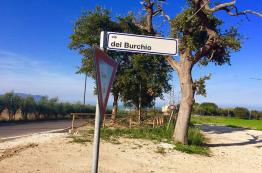 Via del Burchio si dirama da via Montarice direzione sud est. Dall'incrocio si vedono la fermata del bus e il Conero.