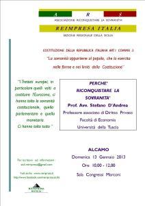 13 gennaio: l'ARS ad Alcamo