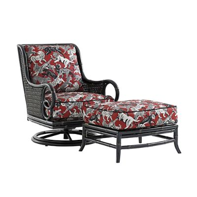 swivel chaise lounge chair orthopedic office marimba wicker with cushions by tommy bahama