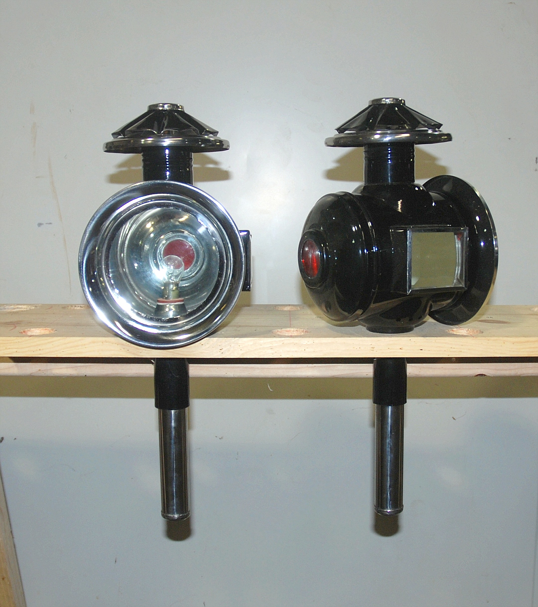 Pair Black Stainless Full Size Carriage Lamps 12 Volt