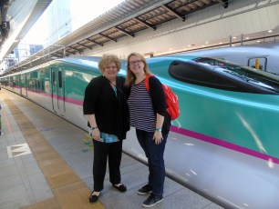 Beth with Destination Asia manager Maddelena boarding the bullet train in Tokyo.