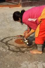 Early morning puja at home; Kathmandu