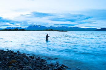 Ben Hoffman makes his first casts over Lake Thingvallavatn