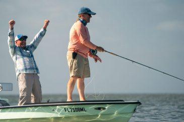 Joe and Mike Fitzgerald chasing tarpon, Florida Keys, 2019