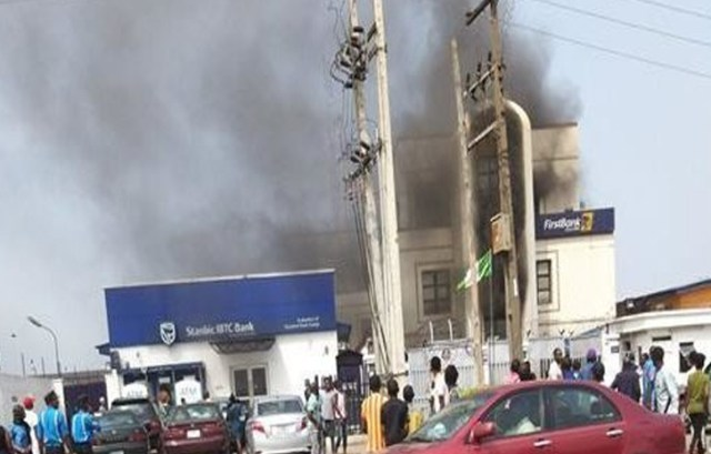 First Bank branch up in flames