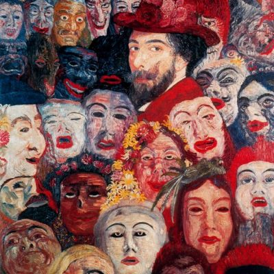 "James Ensor, ""Self-portrait with Masks"" (1899)"
