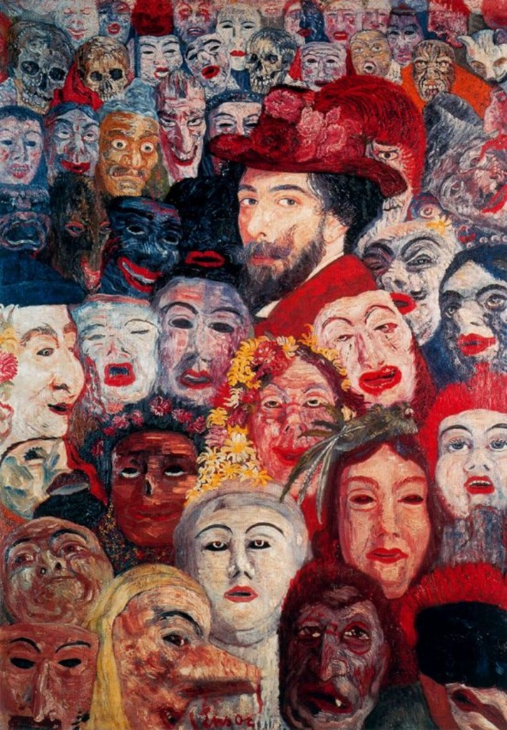 "James Ensor, ""Self-portrait with Masks (1899)"