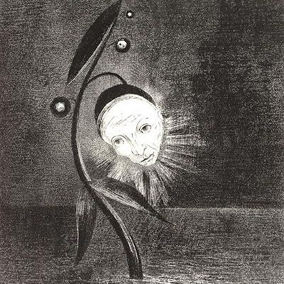 "Odilon Redon, ""Flower of the Swamp, a Head Human and Sad"" (1885)"