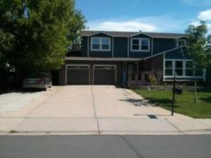 Dark Brown Contemporary Style Flush Garage doors with windows at the top