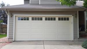 Beige Garage door with windows