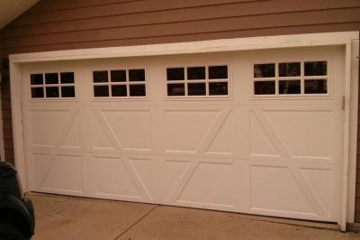 Side View White Garage door with windows