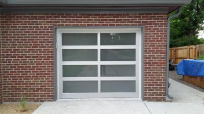 Modern Classic gray garage door with glass