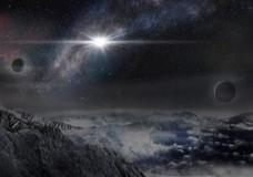 This image provided by The Kavli Foundation on Thursday, Jan. 14, 2016 shows an artist's impression of the superluminous supernova ASASSN-15lh as it would appear from an exoplanet located about 10,000 light-years away in the host galaxy of the supernova. On Thursday, astronomers announced the discovery of the brightest star explosion ever - easily outshining the entire Milky Way galaxy. (Jin Ma/Beijing Planetarium/The Kavli Foundation via AP)