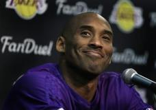 Los Angeles Lakers' Kobe Bryant smiles during a media conference prior to an NBA basketball game against the Golden State Warriors, Thursday, Jan. 14, 2016, in Oakland, Calif. (AP Photo/Ben Margot)