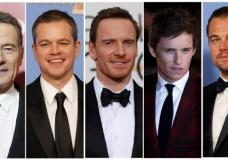 Oscar nominees for Best Actor are shown in this combination of file photos (L to R) Bryan Cranston, Matt Damon, Michael Fassbender, Eddie Redmayne, and Leonardo DiCaprio. REUTERS/Staff/Files