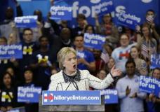 Democratic presidential candidate Hillary Clinton speaks to supporters at her election night watch party after winning the South Carolina Democratic primary in Columbia, S.C., Saturday, Feb. 27, 2016. (AP Photo/Gerald Herbert)