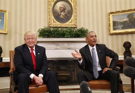 FILE - In this Thursday, Nov. 10, 2016, file photo, President Barack Obama meets with President-elect Donald Trump in the Oval Office of the White House in Washington. Trump's skepticism of technology marks a sharp contrast from Obama, whom he'll replace on Jan. 20. (AP Photo/Pablo Martinez Monsivais, File)