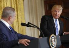 President Donald Trump and Israeli Prime Minister Benjamin Netanyahu participate in a joint news conference in the East Room of the White House in Washington, Wednesday, Feb. 15, 2017. (AP Photo/Pablo Martinez Monsivais)