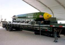 """This photo provided by Eglin Air Force Base shows the GBU-43/B Massive Ordnance Air Blast bomb. The Pentagon says U.S. forces in Afghanistan dropped the military's largest non-nuclear bomb on an Islamic State target in Afghanistan. A Pentagon spokesman said it was the first-ever combat use of the bomb, known as the GBU-43, which he said contains 11 tons of explosives. The Air Force calls it the Massive Ordnance Air Blast bomb. Based on the acronym, it has been nicknamed the """"Mother Of All Bombs."""" (Eglin Air Force Base via AP)"""