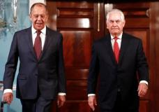 Secretary of State Rex Tillerson, right and Russian Foreign Minister Sergey Lavrov arrive for a media availability at the State Department in Washington, Wednesday, May 10, 2017. (AP Photo/Carolyn Kaster)