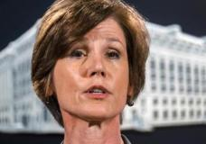 FILE - In this June 28, 2016 file photo, then-Deputy Attorney General Sally Yates speaks during a news conference at the Justice Department in Washington. An Obama administration official who warned the Trump White House about contacts between Russia and one of its key advisers is set to speak publicly for the first time about the concerns she raised. Yates is testifying May 8, 2017, before a Senate Judiciary subcommittee investigating Russian interference in the 2016 presidential election. (AP Photo/J. David Ake, File)