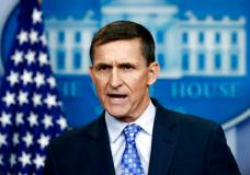 FILE- In this Feb. 1, 2017, file photo, then-National Security Adviser Michael Flynn speaks during the daily news briefing at the White House, in Washington. Flynn resigned as President Donald Trump's national security adviser on Feb. 13, 2017. (AP Photo/Carolyn Kaster, File)